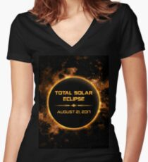 TOTAL SOLAR ECLIPSE AUGUST 21, 2018 Women's Fitted V-Neck T-Shirt