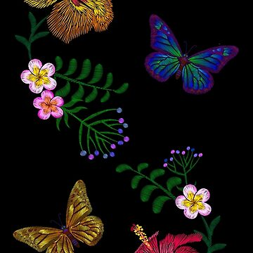 Golden butterfly and tropic flowers embroidery by LuckyStep