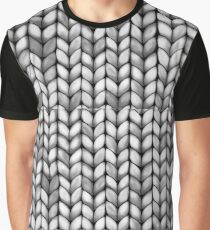Chunky Charcoal Knit Graphic T-Shirt