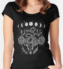 Moon Phases, Snakes, And Crystals Witchy Design Women's Fitted Scoop T-Shirt