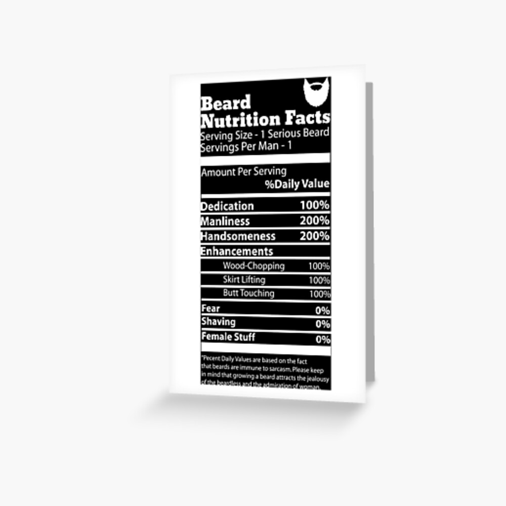 Beard Nutrition Facts | Greeting Card