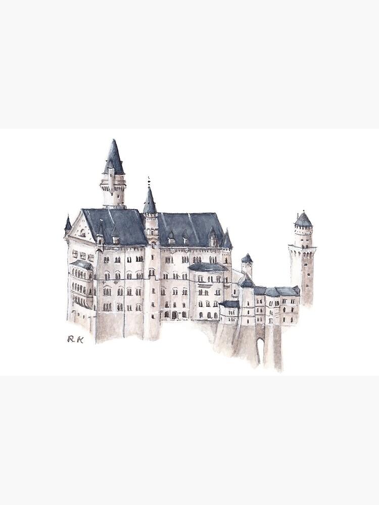 Castillo de Neuschwanstein Acuarela de rhiannonkate