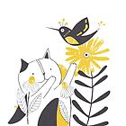 The Cat and The Yellow Flower by Mireille  Marchand