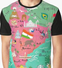 India Map-illustrated Graphic T-Shirt
