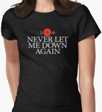Never Let Me Down Again DM White logo Women's Fitted T-Shirt
