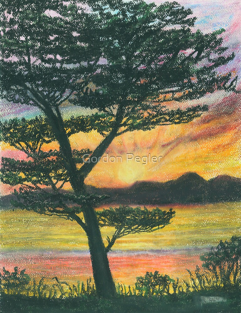 Sun Rise - Oil Pastels by Gordon Pegler