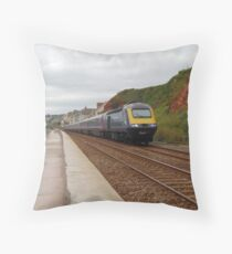 Great Western Railway High Speed Train along the Dawlish Sea Wall Throw Pillow