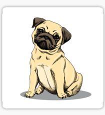 pug dog sketch Sticker