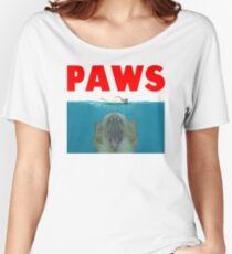 Funny Paws Cat Movie Poster Parody Women's Relaxed Fit T-Shirt