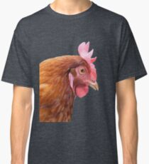 Side View Of A Farmyard Chicken Vector Style Classic T-Shirt