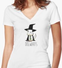 harry dogs dogwarts Women's Fitted V-Neck T-Shirt