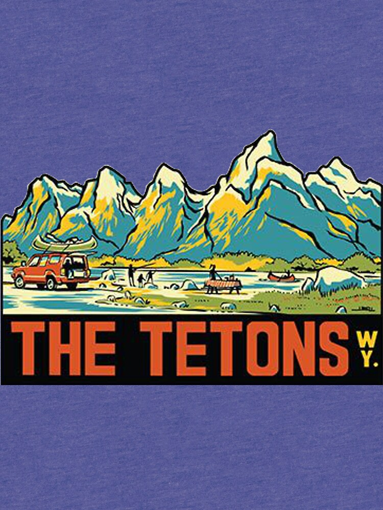 The Tetons - Grand Teton National Park Vintage Travel Decal by MeLikeyTees
