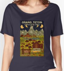 Grand Teton National Park - Summer of the Eclipse - Travel Decal Women's Relaxed Fit T-Shirt