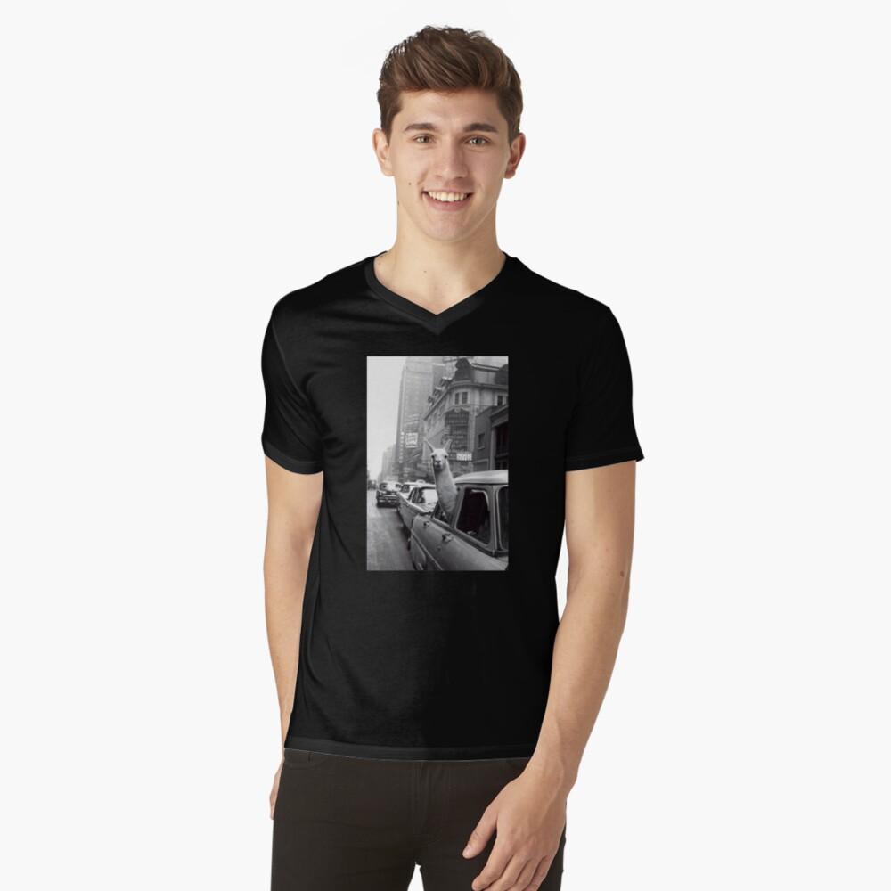 New York Llama V-Neck T-Shirt