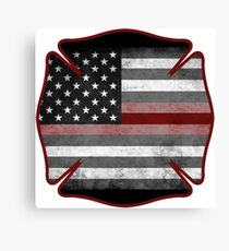 Thin Red Line - Fire Cross Canvas Print