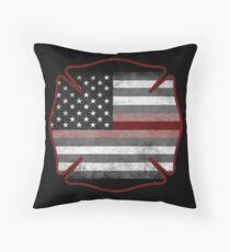 Thin Red Line - Fire Cross Throw Pillow