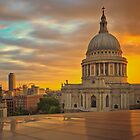 St.Pauls Cathedral and an orange sunset by Delfino