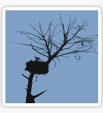 Silhouette Of Stalk Nest and Fledglings Vector Sticker
