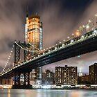 Manhattan Bridge at Night by Randy  LeMoine