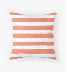 Coral And White Striped Pattern Throw Pillow