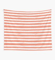 Coral And White Striped Pattern Wall Tapestry