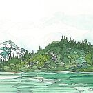 Glacier Bay National Park in Watercolor by Carrie Alyson