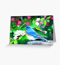 Bluebird in Blossoms Greeting Card