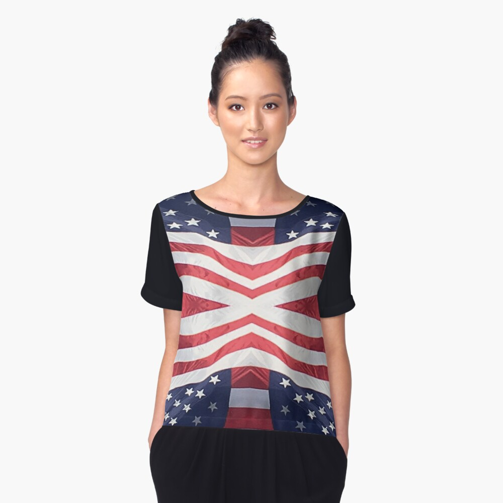 US Flag Fun Women's Chiffon Top Front
