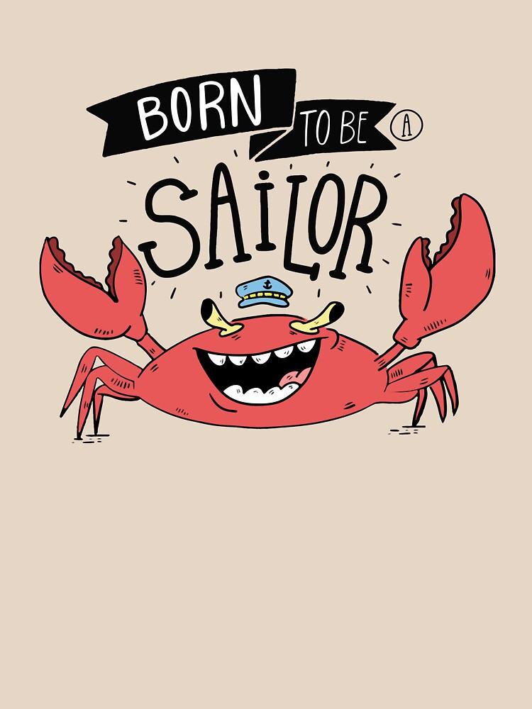 Cute Crab Sailor Cartoon Hand Drawn by simbamerch