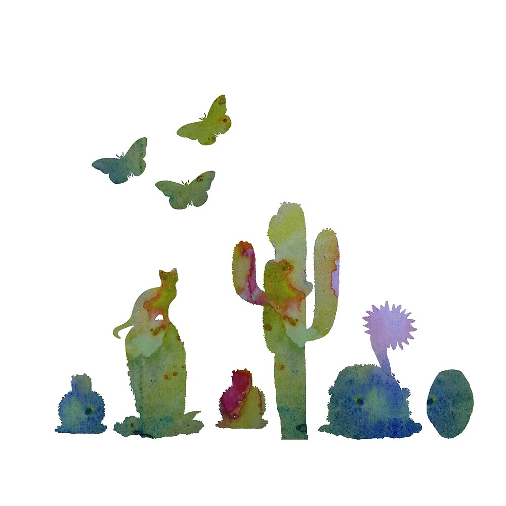 Water colour cacti art by TheJollyMarten