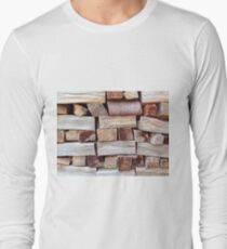Wood pile, textured background T-Shirt