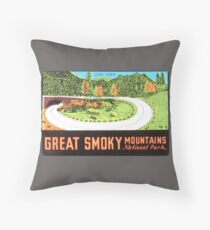 Loop Over in Great Smoky Mountains National Park Vintage Travel Decal Throw Pillow