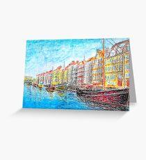 Nyhavn - Copenhagen, Denmark - Oil Pastel Painting Greeting Card