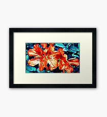 Red and Blue Flowers Framed Print