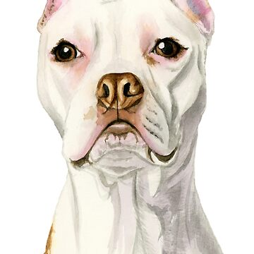 Proud and Tall | White Pit Bull Dog Watercolor Portrait by namibear