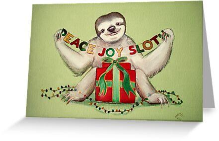 Christmas Sloth by Sarah  Mac Illustration