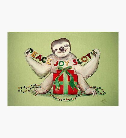 Christmas Sloth Photographic Print