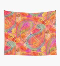Hippie Chic Flowers Peace Wall Tapestry