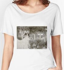 white picket fence and trees Women's Relaxed Fit T-Shirt