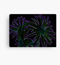Neon Purple Outlined Green and Blue Flower Abstract Canvas Print