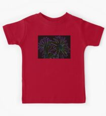Neon Purple Outlined Green and Blue Flower Abstract Kids Tee