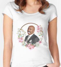 Steve Harvey - Blue Flower Frame Women's Fitted Scoop T-Shirt