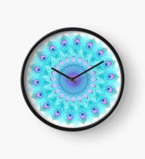 Peacock feathers mandala Clock