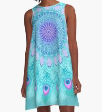 Peacock feathers mandala A-Line Dress