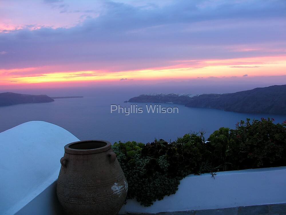 Grecian Blue Sunset by Phyllis Wilson