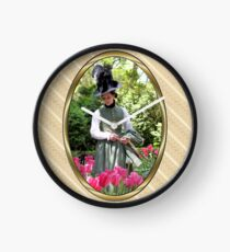 A Colonial Lady in Her Garden Clock