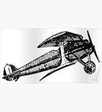 Old Vintage Antique Airplane Drawing #3 Poster