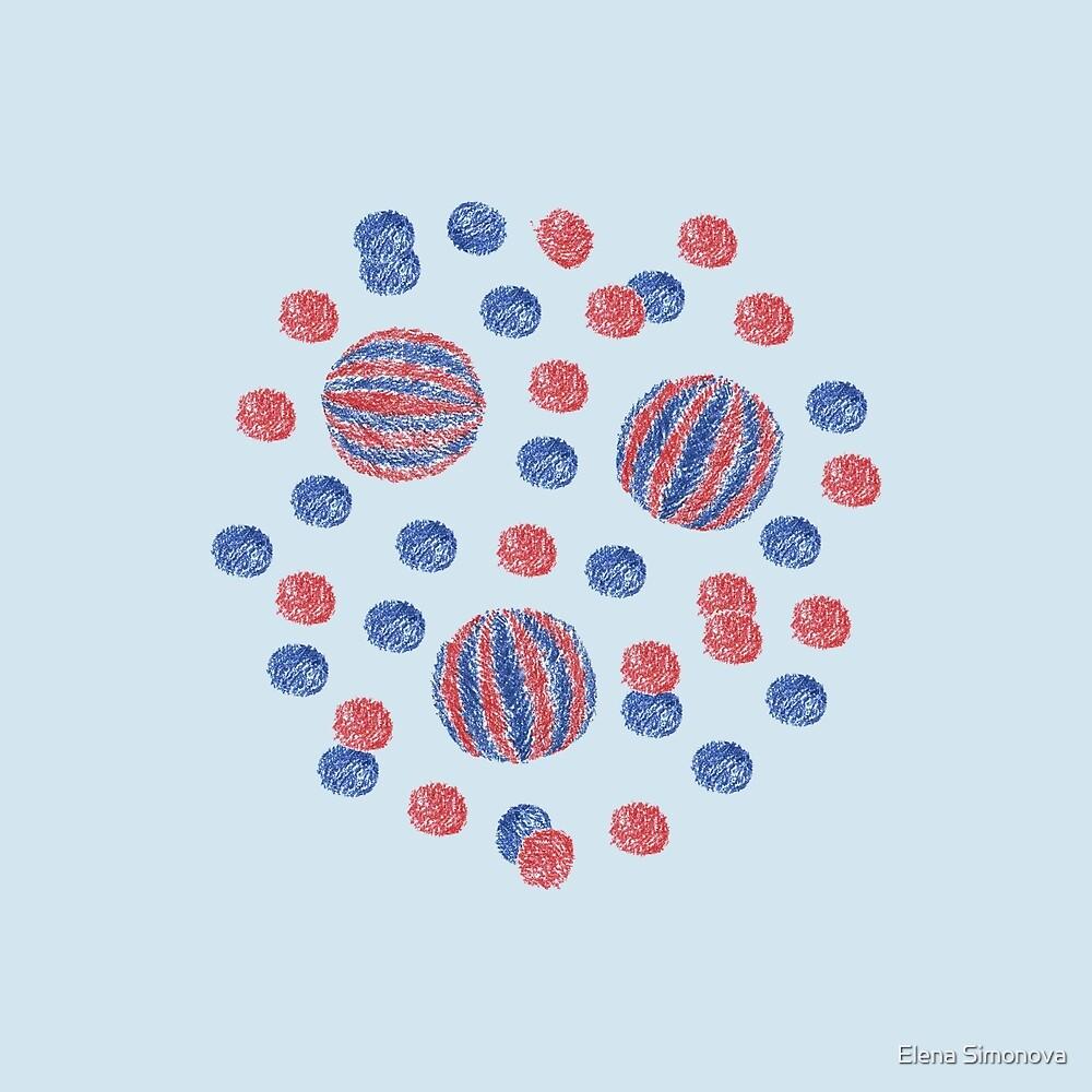 Red & Blue Balls on Pale Blue by Elena Simonova