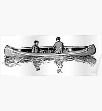Old Vintage Antique Canoe Drawing Poster