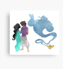Princess, Prince and Genie Inspired Silhouette Metal Print